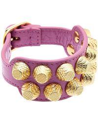 Balenciaga Giant Studs Leather Bracelet - Lyst