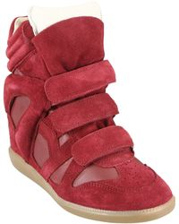 Isabel Marant Leather And Suede Burt Sneakers - Lyst