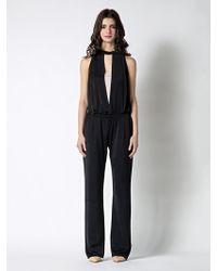 Patrizia Pepe Long Jumpsuit with Deep Neckline in Flowing Fabric - Lyst