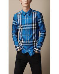 Burberry Check Stretch Cotton-blend Shirt - Lyst