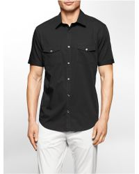 Calvin Klein | White Label Classic Fit Two Pocket Poplin Short Sleeve Shirt | Lyst
