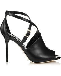 Jimmy Choo Leigh Sandal Black Leather - Lyst