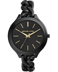 Michael Kors Midsize Black Stainless Steel Slim Runway Threehand Watch - Lyst