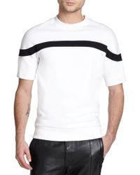 Diesel Black Gold Striped Neoprene Short-Sleeved Sweatshirt white - Lyst