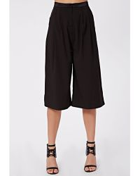 Missguided Kat Wide Leg Cropped Trousers Black - Lyst