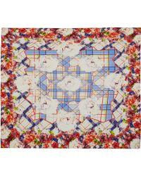 Teatum Jones - Blue Check Flower Print Silk Scarf - Lyst