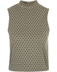 Topshop Geo Polo Top - Lyst