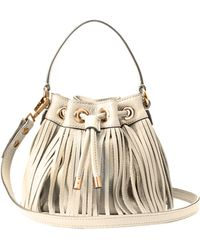 Milly Essex Fringe Small Drawstring white - Lyst
