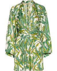 Issa Printed Wrap-Effect Silk-Jersey Dress - Lyst