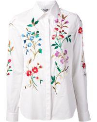 Oscar de la Renta Floral Embroidered Shirt - Lyst