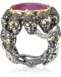 Bernard Delettrez - Skulls and Snakes Black Ring Wglasstreated Ruby - Lyst