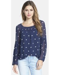 Lucky Brand Woodblock Print Peasant Top - Lyst