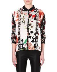 Roberto Cavalli Floral Panelled Silk Shirt Multi Red - Lyst