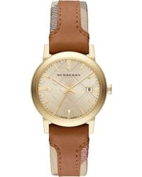 Burberry Womens Swiss The City Haymarket Check And Tan Leather Strap 34mm - Lyst