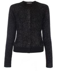 Paul Smith Black Textured Glitter Cardigan With Merino Wool Trims - Lyst