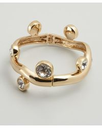 Kenneth Jay Lane Gold And Crystal Branch Bangle - Lyst