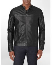 Calvin Klein White Label Faux Leather Quilted Moto Jacket - Lyst