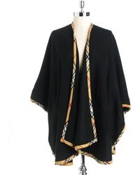 Lord & Taylor - Solid Ruana Wrap With Plaid Trim - Lyst