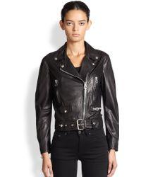 Acne Studios Mock Light Leather Moto Jacket - Lyst