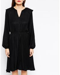 Ganni Long Sleeve Dress With Gathered Waist And Pleat Detailing - Lyst