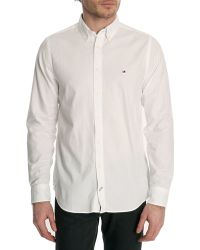 Tommy Hilfiger White Down Flag Slim-Fit Buttoned Shirt - Lyst