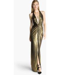 Halston Metallic Jersey Gown - Lyst