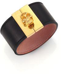 Alexander McQueen Crystal & Leather Gated Skull Cuff Bracelet/Black - Lyst