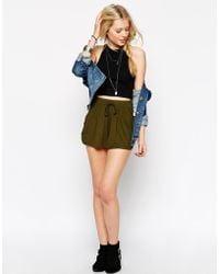Asos Drawstring Culotte Shorts khaki - Lyst
