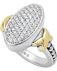 Lagos Sterling Silver Caviar & 18K Gold Oval Pave Diamond Ring - Lyst