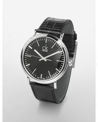 Calvin Klein Platinum Label Surround Black Dial Leather Strap Watch - Lyst