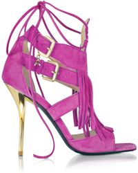 Patrizia Pepe - Peony Pink Suede And Leather Fringe High Heel Sandal - Lyst