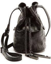 Halston Heritage Croc Embossed Mini Bucket Bag - Black - Lyst