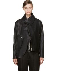 Anthony Vaccarello Black Grained Leather Biker Jacket - Lyst