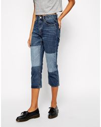 Cheap Monday Teddy Fake Blue Boyfriend Jeans With Patch Details - Lyst