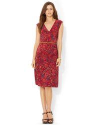 Lauren by Ralph Lauren Jersey Faux Wrap Dress - Lyst