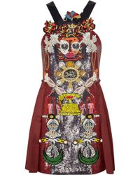Mary Katrantzou Clocktopia Embellished Wool Mini Dress - Lyst
