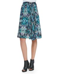 Nanette Lepore Foul Play Pleated Floral Print Skirt Teal Multi 6 - Lyst