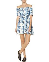 Cynthia Rowley Leaf Print Off-The-Shoulder Dress - Lyst