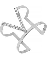 Vince Camuto Silver Tone and Crystal V Cuff Bracelet - Lyst