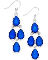 Style & Co. | Silver-tone Blue Teardrop Chandelier Earrings | Lyst