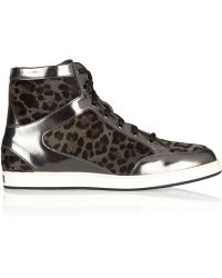 Jimmy Choo Tokyo Leopard-Print Calf Hair And Mirrored-Leather Sneakers - Lyst