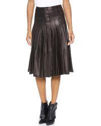 Alice + Olivia Alice Olivia Tatum Leather Pleat Skirt Black - Lyst