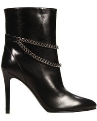 Saint Laurent Ankle Boots Heel 10 Low Boot Leather And Chain - Lyst