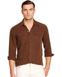 Ralph Lauren Black Label Twill Western Shirt - Lyst