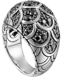 John Hardy Naga Silver Lava Dome Ring With Black Sapphire - Lyst