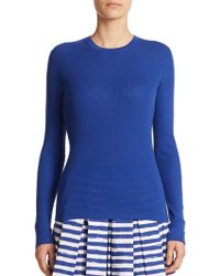 Michael Kors Micro-Ribbed Cashmere Sweater blue - Lyst