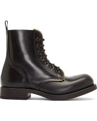 Alexander McQueen Black Zipper Trim Boots - Lyst