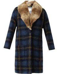 Band Of Outsiders Windowpane Check Furtrimmed Coat - Lyst