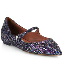 Tabitha Simmons Glitter & Leather Mary Janes - Lyst