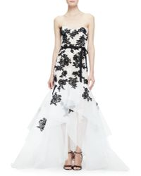 Monique Lhuillier Strapless Embroidered Lace Gown - Lyst